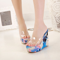 2014 high quality women sandals plastic flower jelly slippers 34 - 39