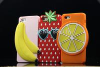 For iPhone 5 5S Banana Lemon Orange Pineapple Strawberry 3D Fruit Silicone Case