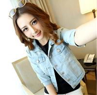 2014 new women's O-neck sleeve denim jacket jeans jacket Women Short Jacket sy-388