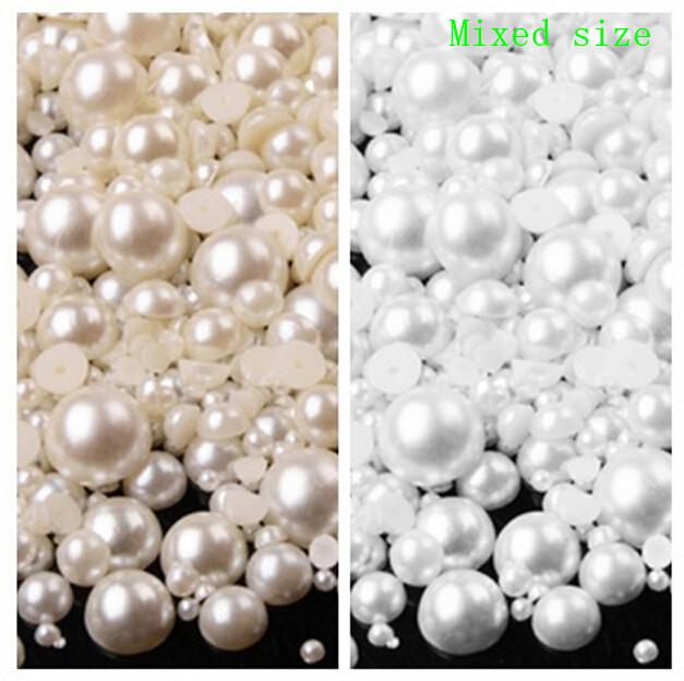 200pcs/bag 3-8mm Pearl Cabochon Flat Back semicircle ABS Beads Jewelry Findings DIY Phone Case Free Ship B61(China (Mainland))