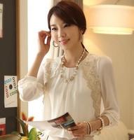 Summer Dress 2014 Autumn Casual Women Blouse Loose Lace Chiffon Shirt Long Sleeved O-neck Women OL Shirt Blouses TS1008