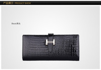 2014 New Fashion Women's H buckle purses female long section of Korean new Crocodile Leather Ladies Wallet