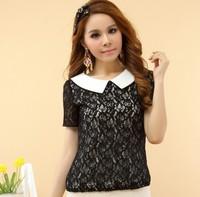 New 2014 Lace Women Blouse Summer Women Clothing Bow Chiffon Shirt Cute Women Peter Pan Collar Blouses & Shirts TS1020