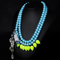 Blue beads synthetic Rhinestone parrot bird double layer sweater alloy and glass animal necklace for grils