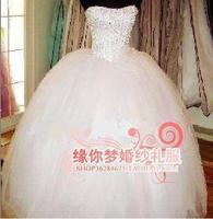 New 2014 custom made Slim sequined wedding dress Puff yarn Suzhou edge of your dreams pearl straps lace wedding dress X179