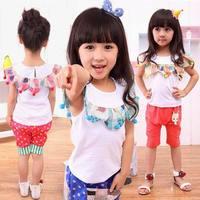 2-7 Y Baby Kids Toddler Girls Clothes Cute Short Top Tee Shirts Ruffle Lace [TZ300-TZ314]