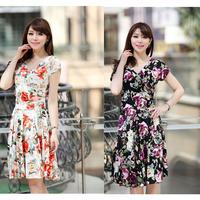 New Elegant Summer Milk Silk V-neck Short Sleeve Floral Dress Women Feminine Tonsee