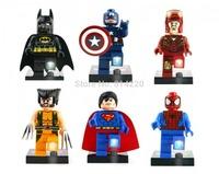 Baby TOys 6pcs Super Heroes 7cm LED Flashlight Batman Wolverine Captain America Spider-man Superman Iron man figures Blocks toys