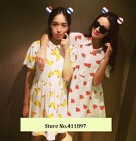 Summer dresses women cute banana watermelon fruit print high waist ladies casual dress free shipping Nora05260