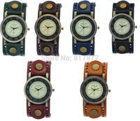 Men Women Vintage Geniune Leather Bands Unisex's Wide Straps Boys Girls Quartz Analog Wrist Watches Free Shipping Wholesale