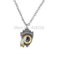 NFL Free ship 50pcs a lot single-sided enamel team logo Washington Redskins Super Bowl Football pendant sports necklace