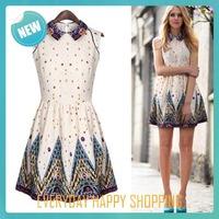 New 2014 cute women dress floral turn-down collar sleeveless chiffon polyester one piece dress sweetheart dress for women