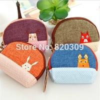 2014 women cute vanilla manor coin purse cotton linen patch key change wallet card mini bag carteira bolsas specail gift