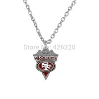 NFL Free ship 50pcs a lot single-sided enamel team logo San Francisco 49ers Super Bowl Football pendant sports necklace