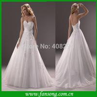 FS-1406091644 Elegant strapless sweetheart appliqued ball gown  floor length wedding dress 2014