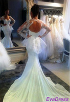 Free Shipping Sexy Long Sleeves Sweetheart Bride Bridal Romantic Gown With Jacket Mermaid Open Back Lace Wedding Dresses