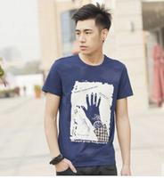 T-Shirt Men Fashion Pull Printing Palm Pattern Mens T Shirts Fashion 2014 M,L,XL,XXL Cotton Men Tshirt   MR1-40