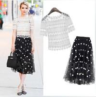 2014 Summer Shirt Dress Flower Hook Transparent Jewel Lace Blouse Polka Dot Embroidery Long Ball Gown Dress Runway Women Suits