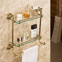 Hot Sale Wholesale And Retail Promotion Luxury Wall Mounted Bathroom Antique Brass Shelf Dual Glass Tiers With Towel Bar