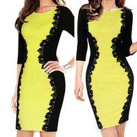 New 2014 Plus size M L XL women knee-length lace dresses Party Casual OL work stitching slim evening Midi Bodycon pencil Dress