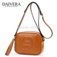 2014 new fashion vintage  genuine leather tassel bag women shoulder bags mini messenger bag 2 style