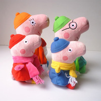2014 brand new baby kids peppa pig plush toys george pig dolls anime peppa pig family toys peppa pig 10sets family set