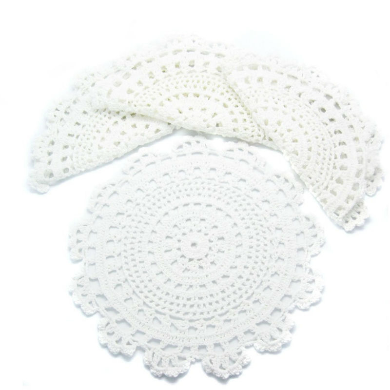 christmas handmade crochet tablecloth dish mat doilies round pad Coasters cover doily home decor[Any size color can do] Set of 6(China (Mainland))
