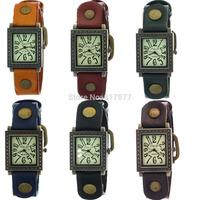 Unisex Vintage Hollow Dot Rectangle Case Men Women Lovers' Leather Belt Rusty Buckle Quartz Wrist Watch Wholesale Free Shipping