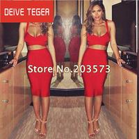 (DEIVE TEGER) Freeshipping 2014 Women's solid   2 PIECE Bandage Dress HL  Evening Dresses red black white 3 colors HL1050