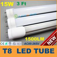 15W LED T8 Tube Light 3ft 900mm 0.9m 3feet LED fluorescent tube lamp SMD2835 High brightness 1500LM AC85-265V CE FCC