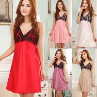 Sexy Lace Faux Silk Sling Lingerie Ladies Women's Nightdress Sleepwear Pajamas JX0340 For Freeshipping