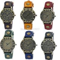 Vintage Copper Star Design Bezel Unisex Quartz Rusted Buckle Cow Leather Strap Rusty Studs Men Women Wrist Watches Wholesale