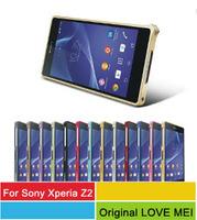 Wholesale 50pcs/l Hippocampal Buckle 0.7mm Aluminum Bumper Metal Frame Case For Sony Xperia Z2 L50 L50W Original LOVE MEI