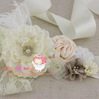 1 pcs Floral wedding sash,Ivory fabric flower with lace,pearls,Rhinestone and Feathers belt, flower girl sash, bridal sash
