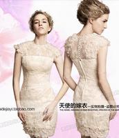 1pcs/lot New Style Wedding Formal Dress Bride Petal Lace Wedding Dresses Short Sheath Wedding Gowns Party Dress gown