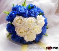 25cm Blue & White Noble Rose Flower Bouquet with Golden Ribbon Artificial Cascading Bride Wedding Flower