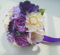 Purple & Ivory Silk Noble Flower Bouquet with Purple Ribbon Artificial Cascading Bride Wedding Flower 22cm