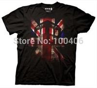 Dr. Who Tardis Union Jack T-Shirt TV T-Shirt Funny Men Black T shirts Custom Your design T Shrits Custom Print Girl Boy T Shirts