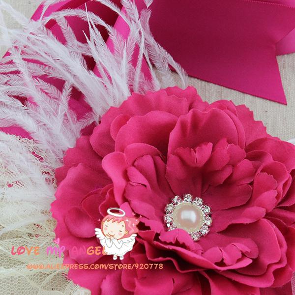 1 шт Фуксия цветок створки, цветочные Свадебные sash, розы с хрусталь жемчужина кружева и перья поясом, по беременности и родам створки