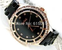 Dropshipping Gold Quartz Watch Crystal Ceramic Women Wedding Dress Watches Lovers's Couple Watch montre femme