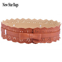 new 2014 hot fashion Loop Tuck Thin Slim Skinny Waist Ladies Women Belt Flowers with hollow bow Collocation dress H060E