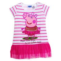 2014 New Summer New Girls Dresses, Peppa Pig Princess Dresses, Children Lace Dresses, Kids Noble Fairy Dresses High Quality