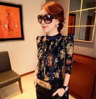 New 2014 Print Women Blouse Long Sleeve Flower Chiffon Shirt Shirt New Elegant Women Openwork Lace Blouses TS1011