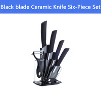 "Black blade 3"" 4"" 5"" 6"" inch Paring Fruit Utility Chef Kitchen Ceramic Knife Six-Piece Set+Ceramic parer knife+Knife Block"