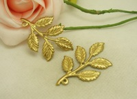 100pcs/lot Hot Sale New Golden Alloy  2 holes leaf  Fashion New Metal Charms Fit Jewelry  making 32*50MM