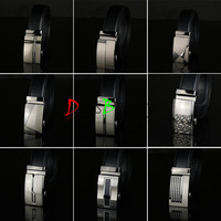 Hot Genuine Leather brand Automatic Buckle Belt Delicate Steel Buckle Belts for Men Reversible Can Adjust 19 Styles