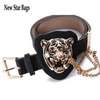 Fashion Metal Gold Leopard Buckle Chain Designer Women's PU Leather Belt Woman Ladies Cummerbund Female Ceinture Straps H061E