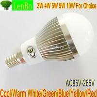 2PCS/LOT E14 LED Globe lamp 3W 4W 5W 9W 10W Globe lamp 220V 110V Cool White silver body LB4