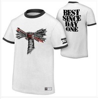 New 2014 Europe  brand men summer  PUNK  white round collar short t shirt
