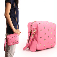 2014 spring and summer genuine leather women's handbag first layer of cowhide litchi rivet fashion chain bag